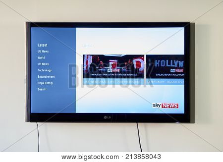 MONTREAL CANADA - NOVEMBER 15 2017: Sky News on LG TV screen. Sky News is a 24-hour international multimedia news organisation based in the UK that started as a 24-hour television news channel.