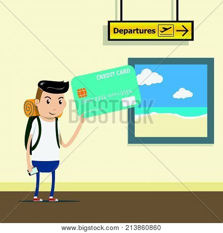 tourist with backpack at the airport terminal with credit card in hand. comfortable payment by credit card concept. easy spending. vector illustration eps10