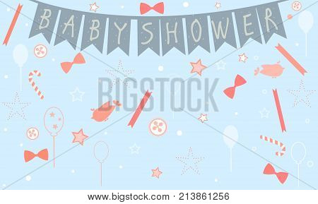 Baby Shower Celebration Card Design With Birds, Festive Balloons, Candy, Bows, Buttons, Etc. Baby Sh
