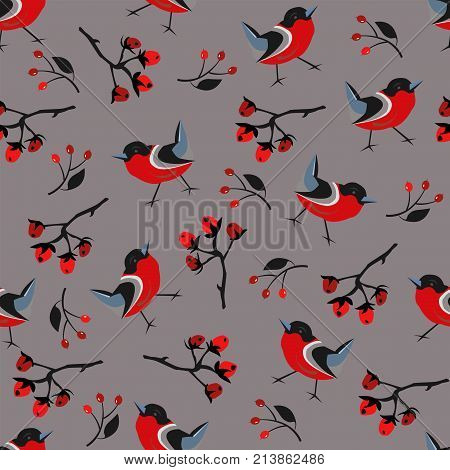 Bird Seamless Pattern. Bullfinch Birds On A Modern Red Background