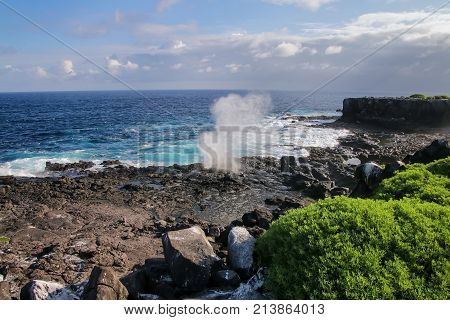 Coast Of Espanola Island With Blowholes, Galapagos National Park, Ecuador.