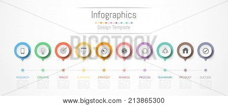 Infographic design elements for your business data with 10 options parts steps timelines or processes. Vector Illustration.