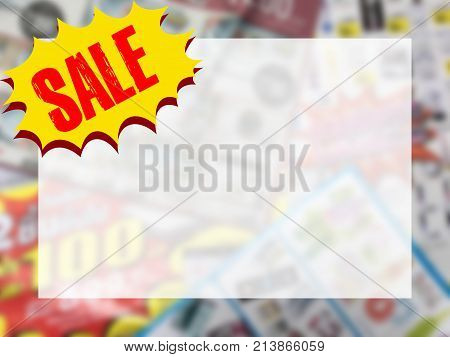 word SALE on yellow speech bubble with copy space for text over blurred catalogue background. Online shopping and promotion concept.
