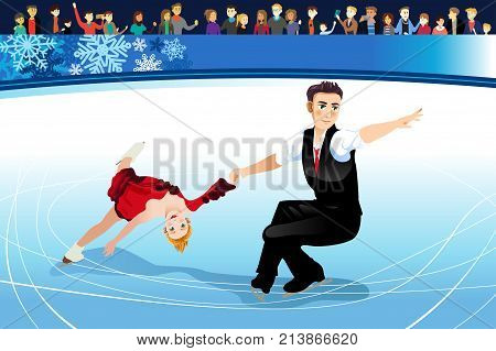 A vector illustration of Figure Skating Athletes Competing