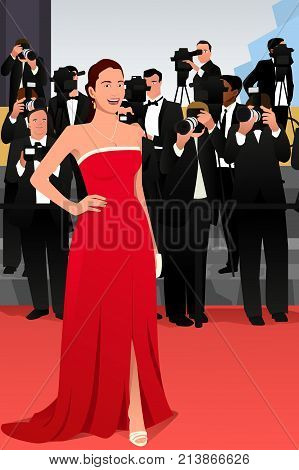 A vector illustration of a beautiful woman going to a red carpet event