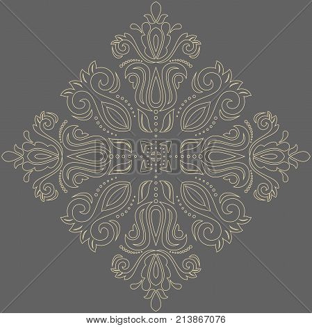 Oriental pattern with golden arabesques and floral elements. Traditional classic ornament. Vintage pattern with arabesques