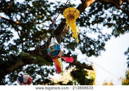 Lanna Traditional Paper Lamp. Colorful Lanna Paper Lantern Made For Annual Celebration In Northern O