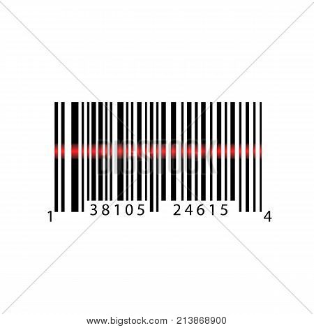 Barcode with numbers. Scanning bar code. EAN code. Simple icon isolated on white background. Vector illustration.