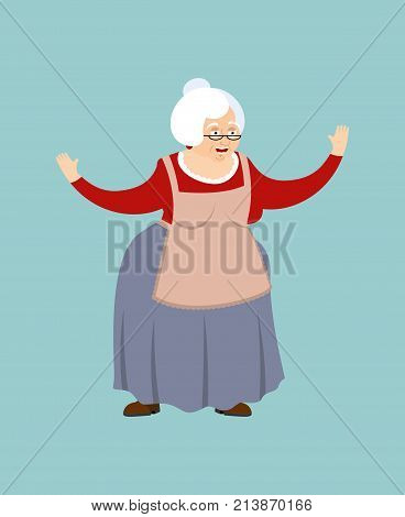 Grandmother Happy. Grandma Merry Emoji. Old Lady Vector Illustration