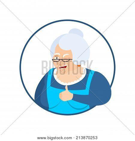 Grandmother Thumbs Up And Winks Emoji. Grandma Happy Emoji. Happy Old Lady. Vector Illustration