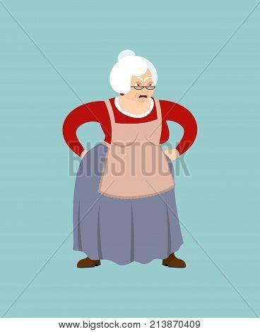 Grandmother Angry Emoji. Face Grandma Evil. Aggressive Old Lady. Vector Illustration