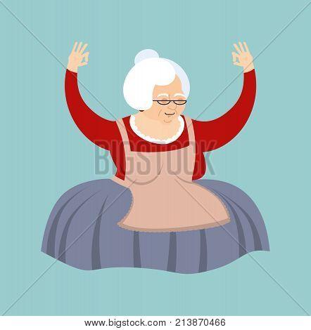 Grandmother Yoga. Grandma Yogi Isolated. Relaxation And Meditation. Old Lady Vector Illustration