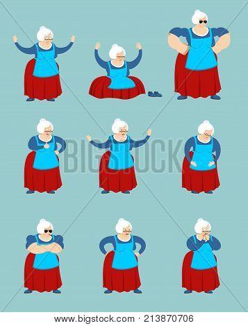 Grandmother Set Poses And Motion. Grandma Happy And Yoga. Old Lady Sleeping And Angry. Guilty And Sa