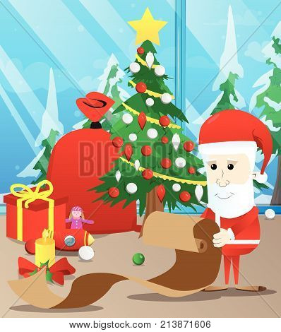 Santa Claus holding long paper, Christmas letter, wish list, naughty or nice list . Vector cartoon character illustration.