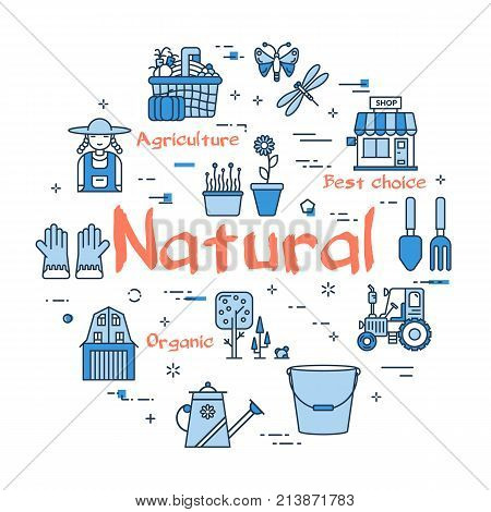 Vector linear blue round concept of Natural Gardening. Thin line icons of tractor, personal shop, garden tools, hose, farmer and good fruit. Web banner on white background