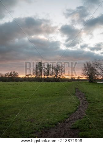 Path Through Open Flat Plain Country Trees Sky Sunset Dramatic