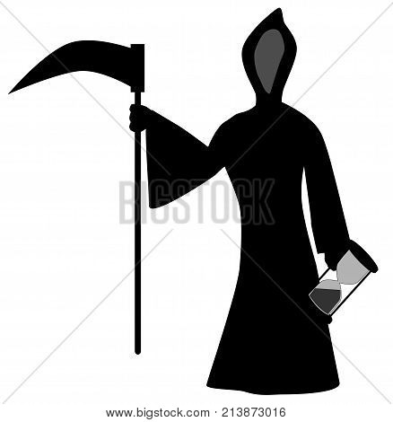 Old father time with hour glass and scythe isolated over white.
