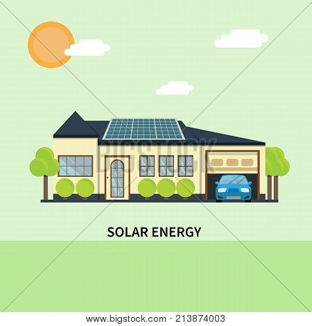 Solar panels on the house. Flat design vector concept illustration.