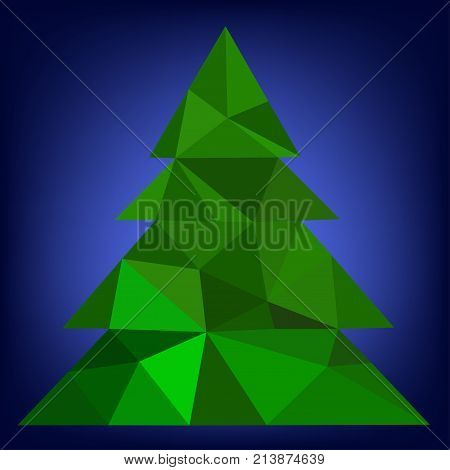 Abstract green Christmas tree from triangle on a blue background - vector