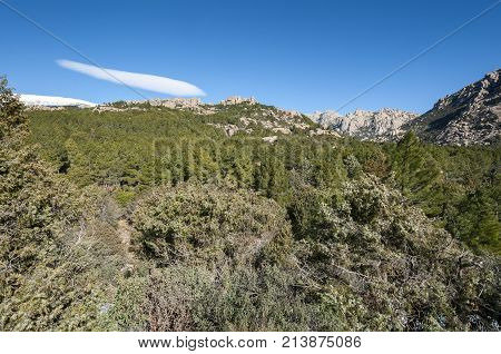 Views of La Pedriza from Canto Cochino, in Guadarrama Mountains National Park, Madrid, Spain. In the background can be seen The Cancho de los Muertos (Peak of the deads), El Pajaro (Bird Peak), Las Buitreras (Vulture Peak) and Sirio Peak
