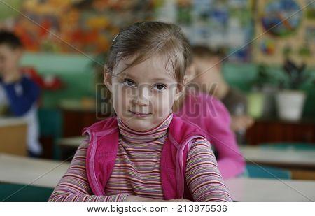Belarus, The City Of Gomel, May 16, 2016. Kindergarten Volotovskaya. Little Girl, The Child Is Sitti