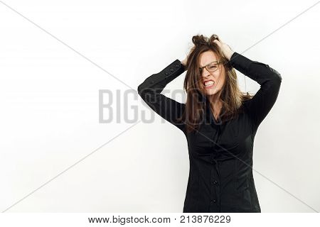 Pretty European Young Angry Brown-haired Woman In Glasses For Sight With Healthy Clean Skin, Dressed