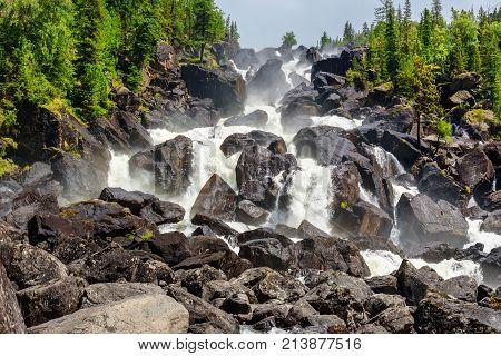 Waterfall Uchar. Altai Republic. Russia
