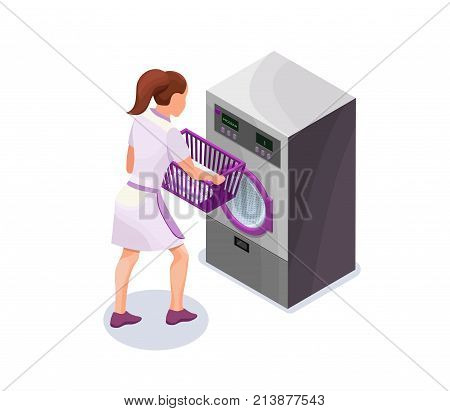 Laundress holding basket with clothes near washing machine, washerwoman at dry cleaners, isometric 3d vector illustration