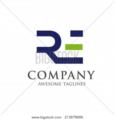 creative letter RE logo concept, innovative RE letter icon
