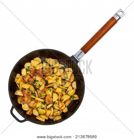 Frying pan with fried potatoes isolated on white background top view
