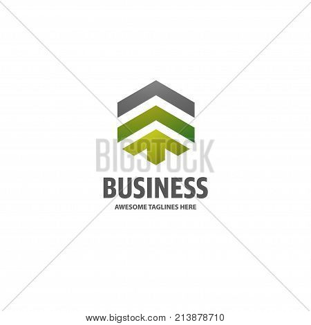Real estate development with arrow logo concept icon, Building logo illustration, Skyscraper logo design, Abstract building logo, Vector tall business building