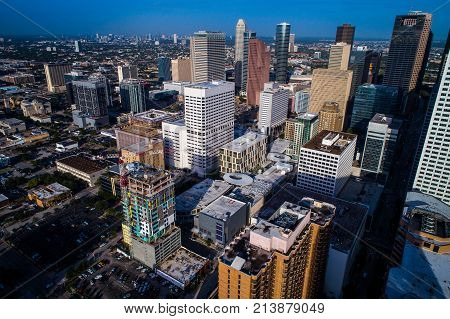 Aerial Drone View Above Downtown Houston , Texas , Usa Massive High Rises And Office Building Skyscr