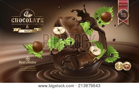 Splashes of melted chocolate with falling chocolate bar and nuts, vector 3D realistic illustration. Mock up advertising poster for promoting elite chocolate