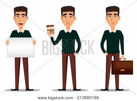 Business man cartoon character. Young handsome smiling businessman in smart casual clothes with briefcase with placard and with cup of coffee. Set of three illustrations. Stock vector