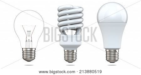 3d rendering set of tungsten bulb, fluorescent bulb and LED bulb. 3d illustration, evolution of energy saver lamps, isolated on white background.