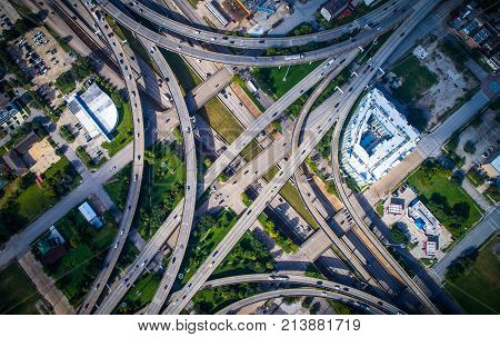 Straight Down View High Up Drone Angle Looking Down On Highways And Turnaround And A Huge Symmetrica