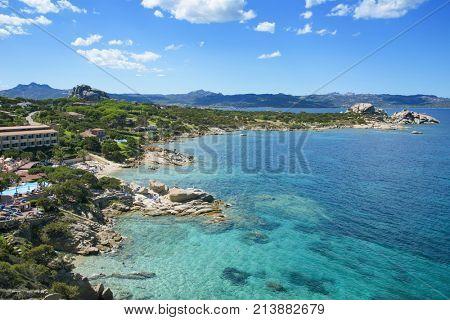 BAJA SARDINIA, ITALY - SEPTEMBER 21, 2017: A view of the coast of Baja Sardinia in the famous Costa Smeralda, in Sardinia, Italy