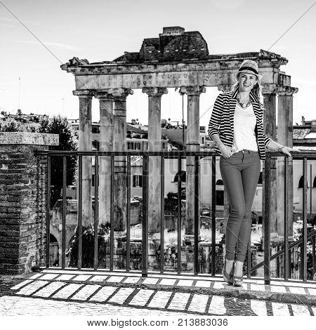 Smiling Traveller Woman Near Roman Forum Having Walking Tour