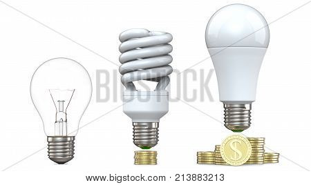 3d rendering of tungsten, fluorescent and LED bulbs, on stack of coins, isolated on white background. 3d illustration, evolution of energy saver lamps, concept of led technology advantage.