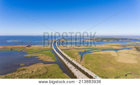 Aerial photo of Mobile Bay and interstate 10 bridge mid morning