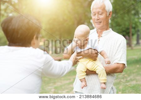 Senior couple with baby grandchild, Asian grandparents family, life insurance concept.