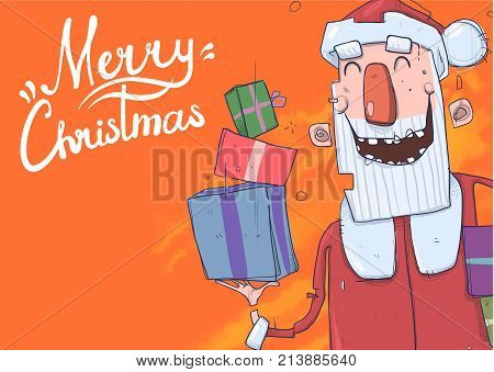 Christmas card with funny Santa Claus smiling. Santa Claus brings presents in boxes. Lettering on orange background with copy space. Cartoon character vector illustration.