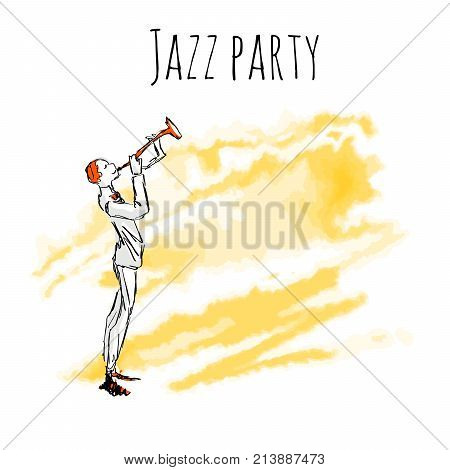Trumpet player on watrecolor background. Vector jazz party poster template with copy space.
