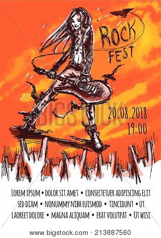 Poster template for a rock event. Long-haired musician plays bizarre guitar in front of excited audience. Grunge abstract sketch vector illustration on some orange background. Vertical. Copy space.