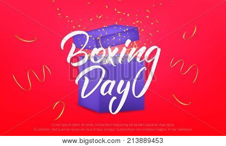 Boxing Day. Banner with Boxing Day lettering text, glossy gift box and realistic gold confetti particles flying around