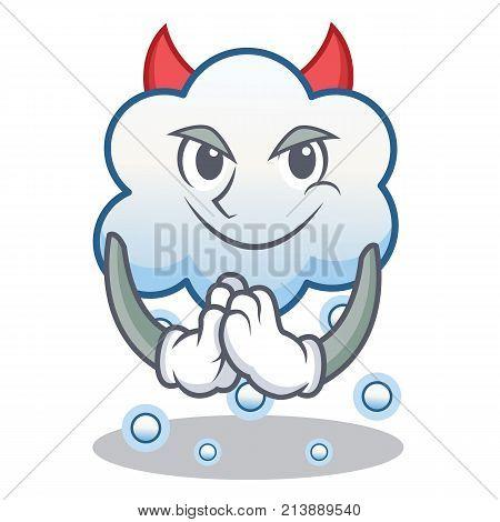 Devil snow cloud character cartoon vector illustration