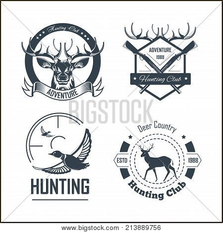 Hunting club or hunt adventure logo templates set. Vector isolated icons of hunter rifle gun and retro horn for animal hunting open season badge of deer or elk antler trophy and duck goose in target