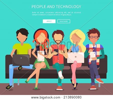 People and technology web banner vector illustration. Males and females sit on bench in wi-fi zone using modern gadgets and getting free internet access