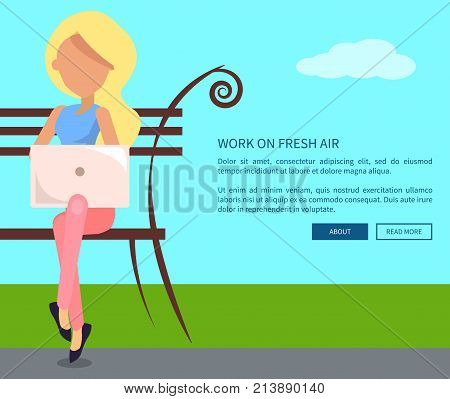 Work on fresh air conceptual vectorweb banner with text. Woman working on laptop sitting on bench, freelancer with notebook in city park
