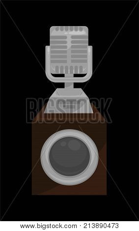Silver shiny microphone on steady stand isolated cartoon flat vector illustration on white background. Noble polished reward for great achievements in music industry in from of compact statue.